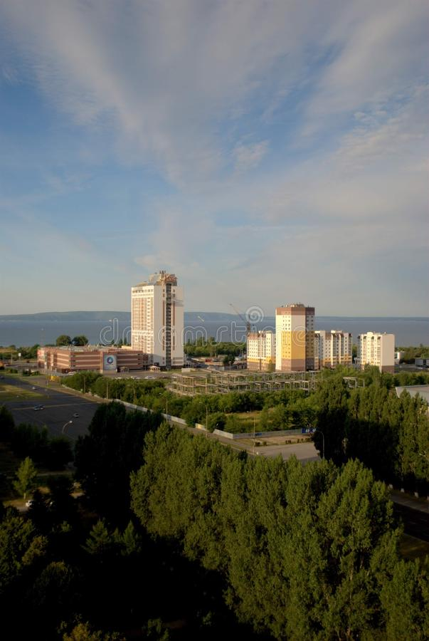 Morning panorama of the city overlooking the Vega shopping and hotel complex from the height of the 16th floor. Tolyatti, Samara Region, Russia - August 14 royalty free stock photo