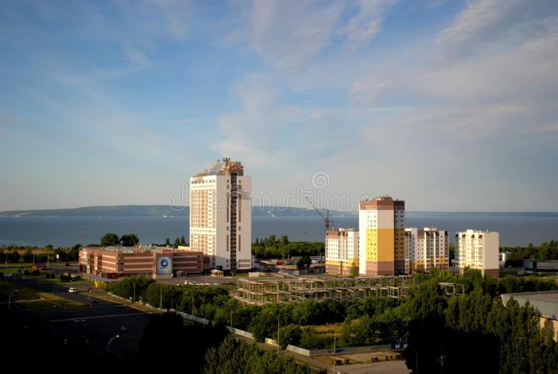 Morning panorama of the city overlooking the Vega shopping and hotel complex from the height of the 16th floor. Tolyatti, Samara Region, Russia - August 14 stock photography