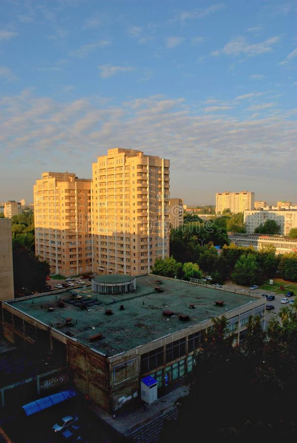 Morning panorama of the city with a view of the new residential complex. Tolyatti, Samara Region, Russia - September 3, 2018: Morning panorama of the city with stock image