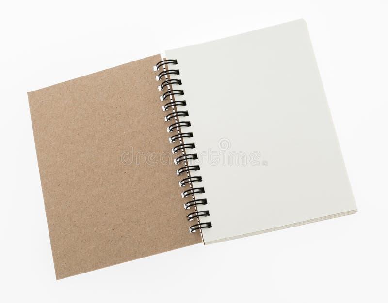 Tom åtlöje för anmärkningsbok upp på vit bakgrund royaltyfri fotografi