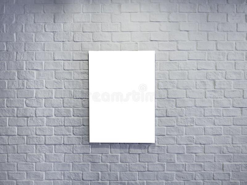 Tom åtlöje upp affischen på vit bakgrund för tegelstenvägg arkivfoto