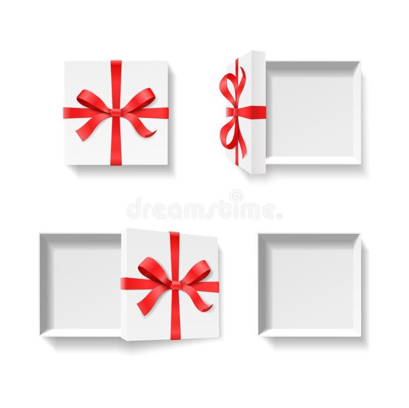 Tom öppen gåvaask med pilbågefnuren för röd färg och band som isoleras på vit bakgrund royaltyfri illustrationer