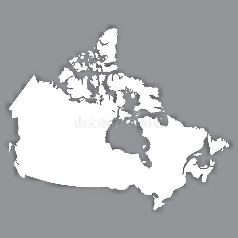 Tom översikt av Kanada Tom vit liknande Kanada översikt som isoleras på grå bakgrund Norr - amerikanskt land med skugga vektor illustrationer