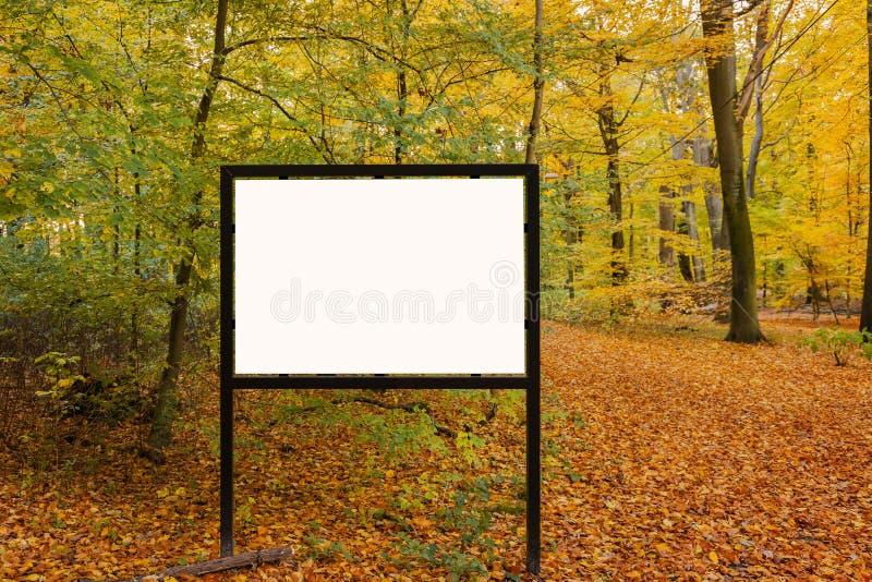 Tom affischtavla på skogslinga fotografering för bildbyråer
