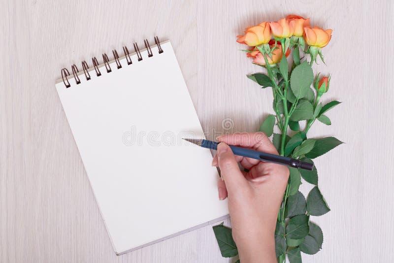 Tom anteckningsbok- och blyertspenna- och handhandstil för vit royaltyfri fotografi