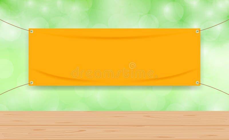 Tom apelsin för vinyl på grön bokehbakgrund och träplankatabellen som är falska upp textiltyg som är tomt av banret som ann vektor illustrationer