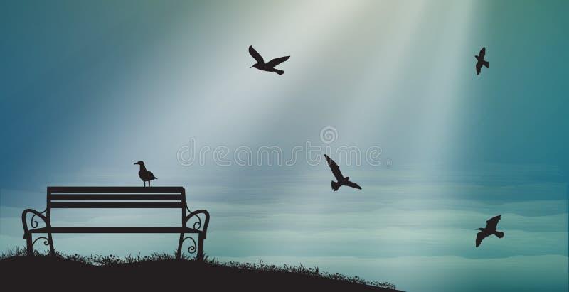Tom bänk med seagulls och solstrålar, skuggor, minnen, söta drömmar för hav, royaltyfri illustrationer