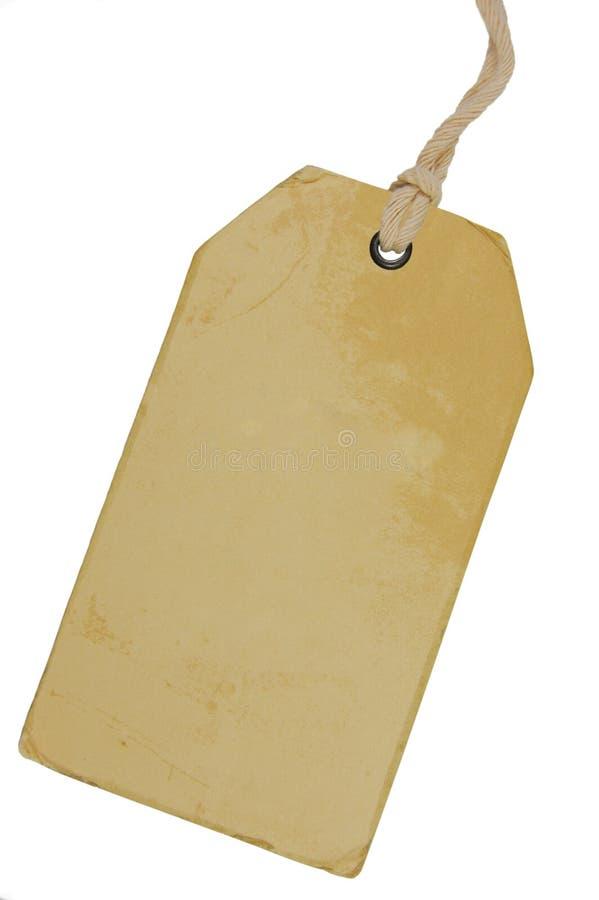 Tom beige tappningpappSale etikett, tomt Pricetag för Grungeprisetikett emblem, isolerat utrymme för kopia för Grungy makroCloseu arkivbilder