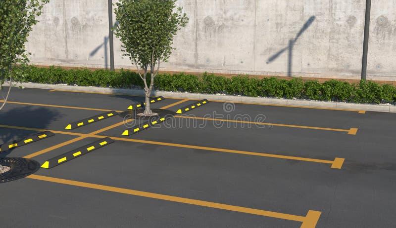 Tom bil som parkerar utan bilar Parkeringsplatser trottoar för gångare med rabatt vektor illustrationer