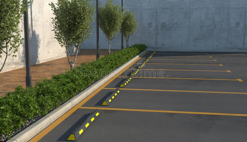 Tom bil som parkerar utan bilar Parkeringsplatser trottoar för gångare med rabatt stock illustrationer