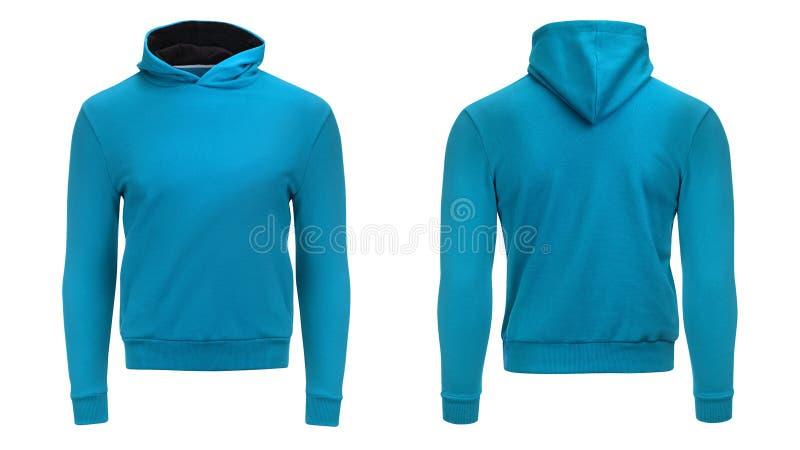 Tom blå hoodietröja med den snabba banan, mäns sweater för din designmodell och mallen för trycket, vit bakgrund arkivfoto