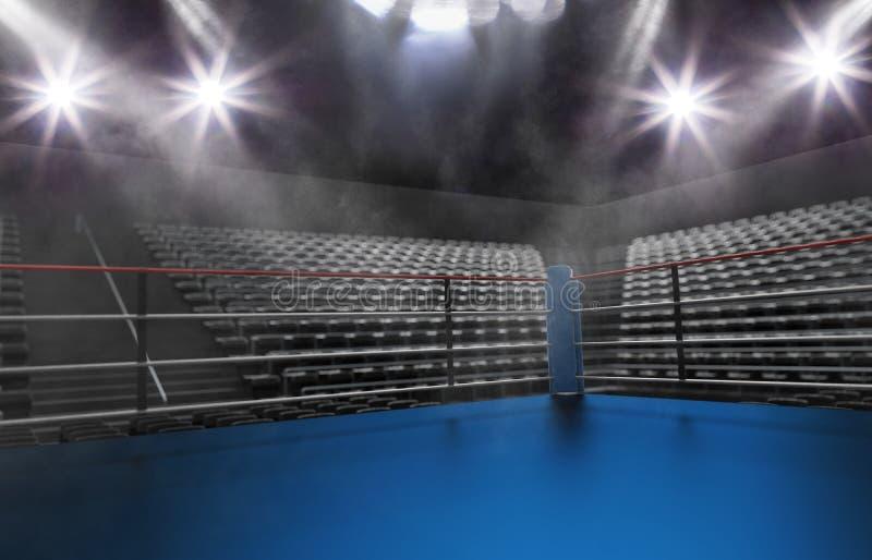 Tom boxningsring i arena, fläckljus, rök och mörkernattsc arkivfoton