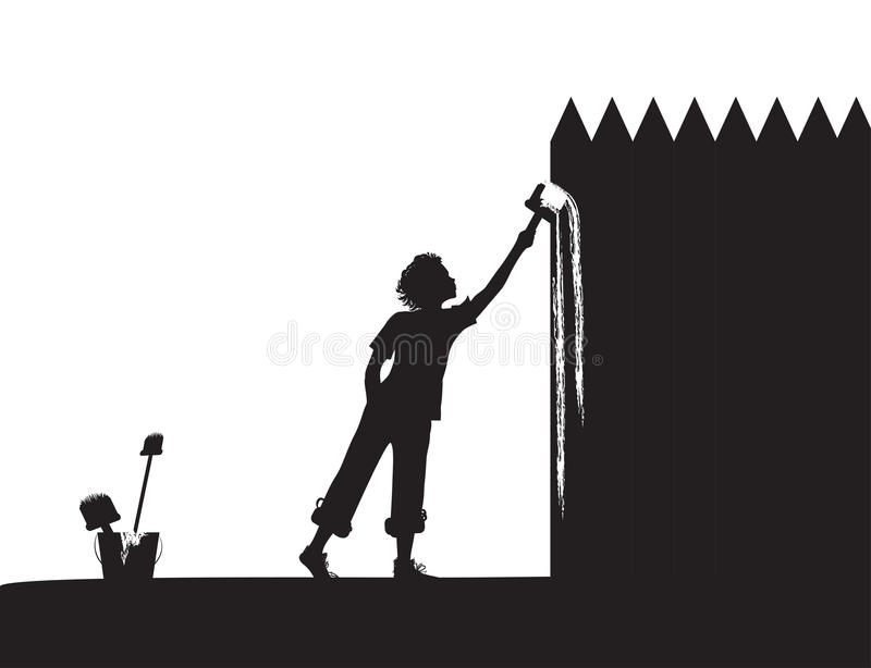 Tom. Boy paints the fence, shadows, vector black and white stock illustration