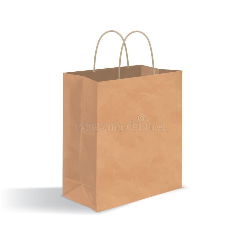 Tom brun pappers- påse med handtag Realistisk kraft packe med skuggor som isoleras på vit bakgrund mall för restaurang för begrep royaltyfri illustrationer
