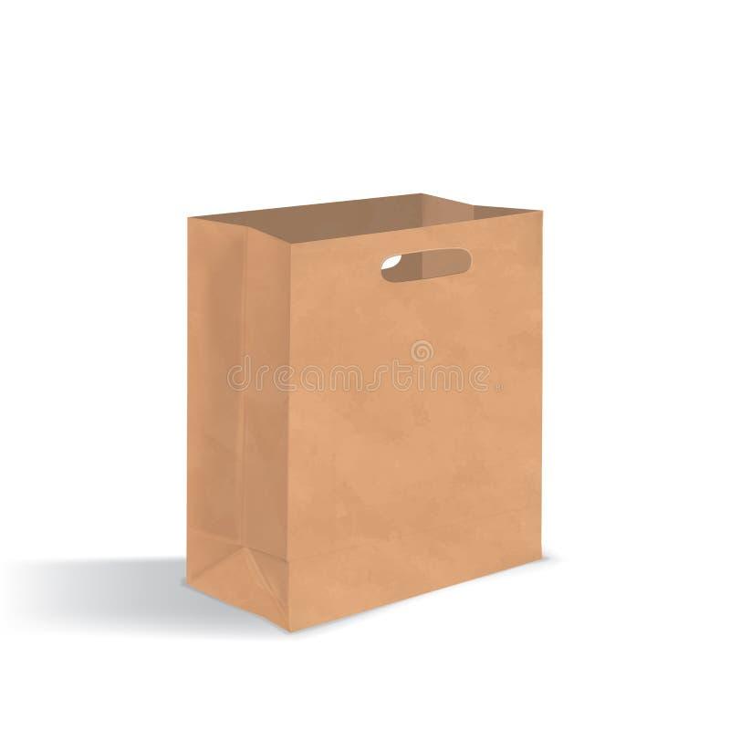 Tom brun pappers- påse med handtaghål Realistisk kraft packe med skuggor som isoleras på vit bakgrund Design stock illustrationer
