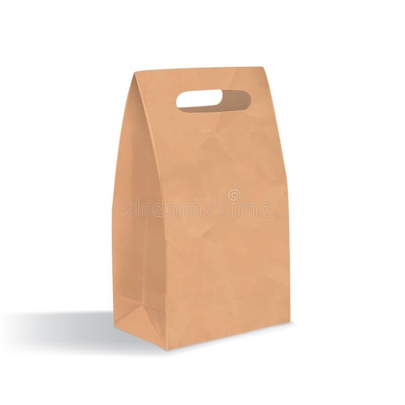 Tom brun pappers- påse med handtaghål Realistisk triangulär kraft packe med skuggor på vit bakgrund royaltyfri illustrationer