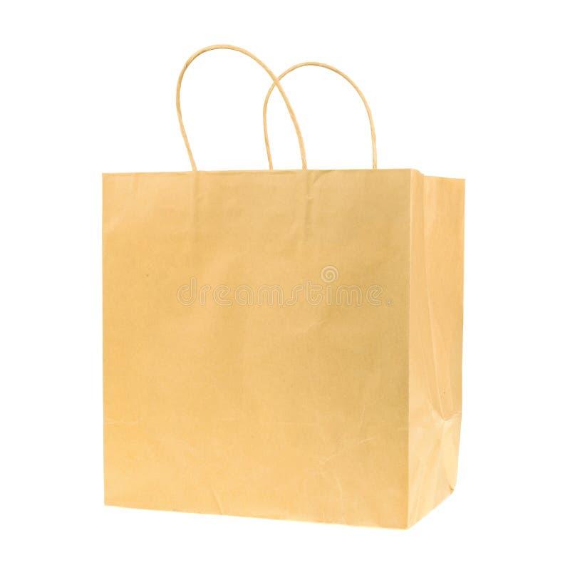 Tom brunt återanvände den pappers- shoppingpåsen som isolerades på vit backgr fotografering för bildbyråer