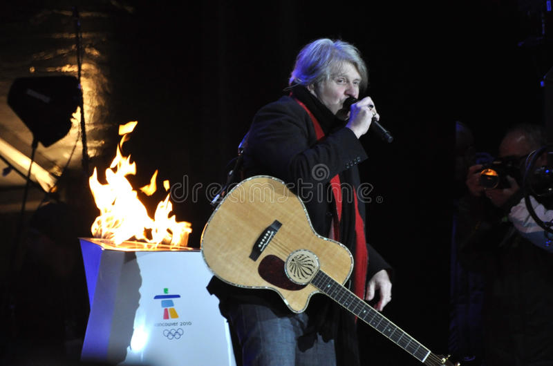 Tom Cochrane. Performs at the Olympic Torch Relay ceremony in Ottawa, December 12, 2009. The event was in preparation for the 2010 Winter Olympics which will be royalty free stock photos