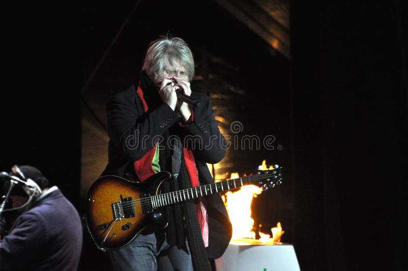 Tom Cochrane. Performs at the Olympic Torch Relay ceremony in Ottawa, December 12, 2009. The event was in preparation for the 2010 Winter Olympics which will be royalty free stock images