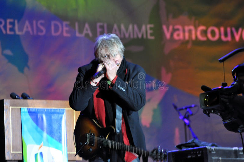Tom Cochrane. Performs at the Olympic Torch Relay ceremony in Ottawa, December 12, 2009. The event was in preparation for the 2010 Winter Olympics which will be stock photography