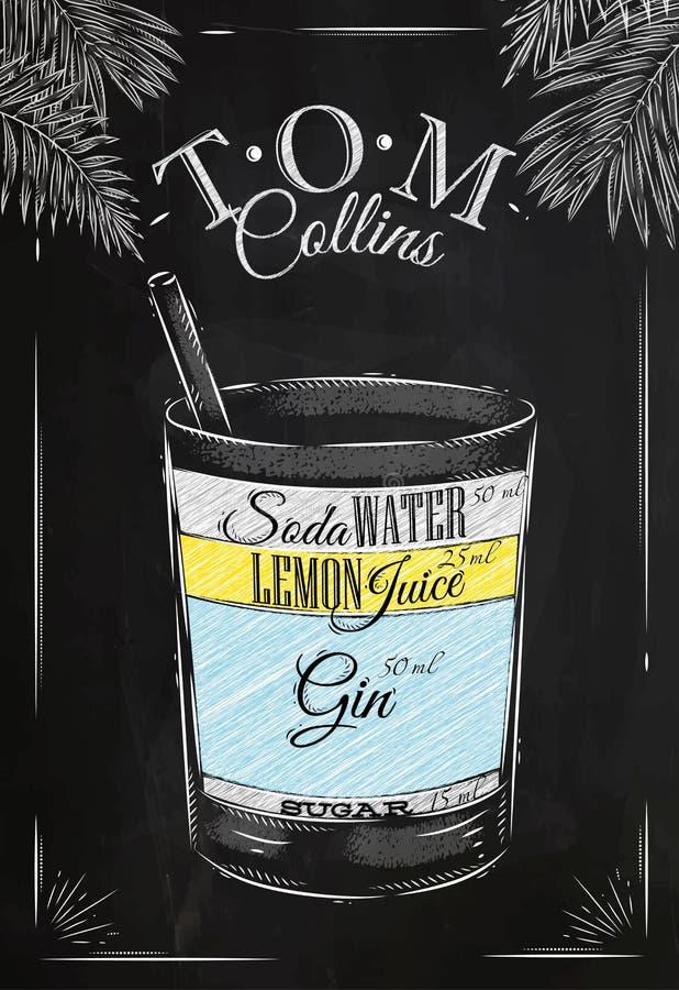 Tom Collins cocktail chalk royalty free illustration