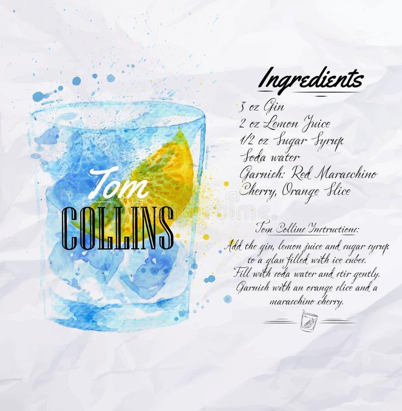 Tom Collins coctailvattenfärg vektor illustrationer