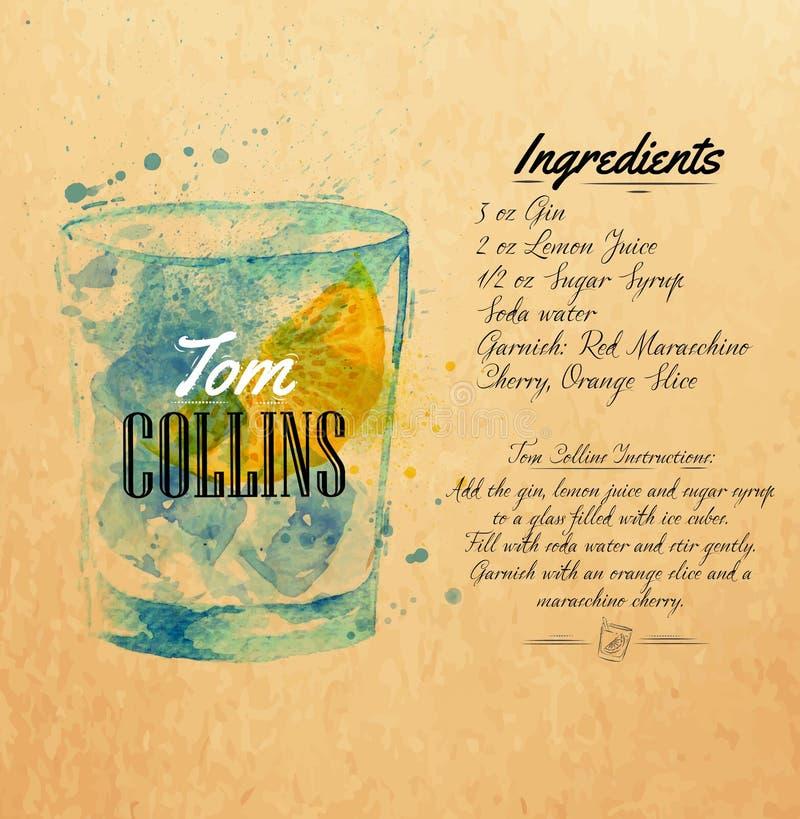 Tom Collins coctailvattenfärg kraft vektor illustrationer
