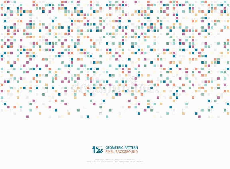 Tom colorido incorporado do sumário do fundo geométrico da tampa da arte do teste padrão da decoração do pixel da caixa quadrada  ilustração do vetor