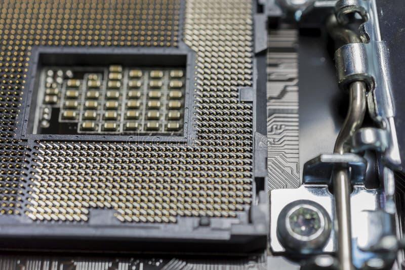 Tom CPU-processorhålighet på moderkortslut upp makro arkivfoton