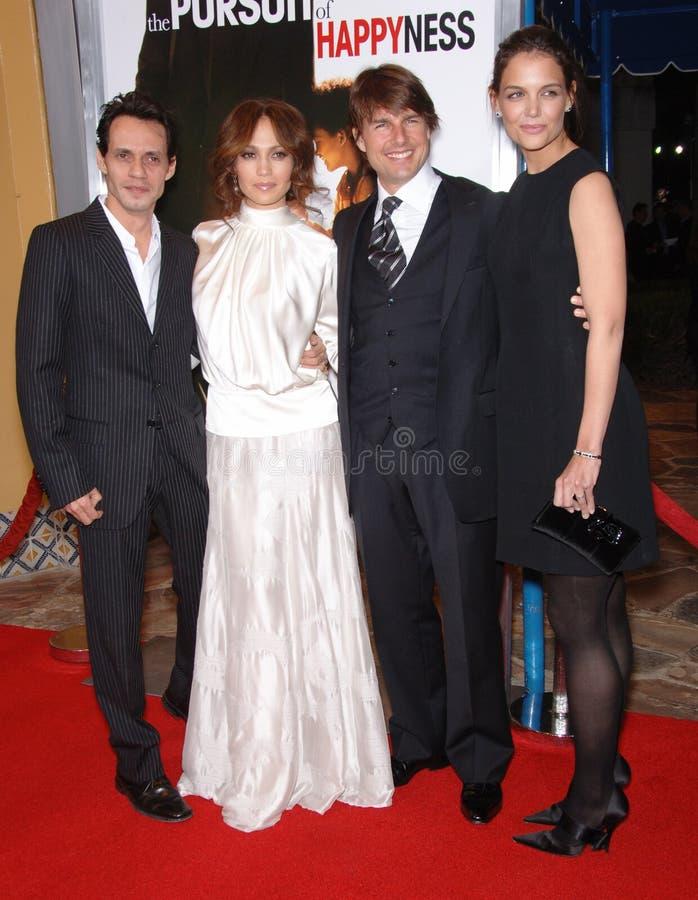 Tom Cruise, Jennifer López, Katie Holmes, Marc Anthony foto de archivo libre de regalías