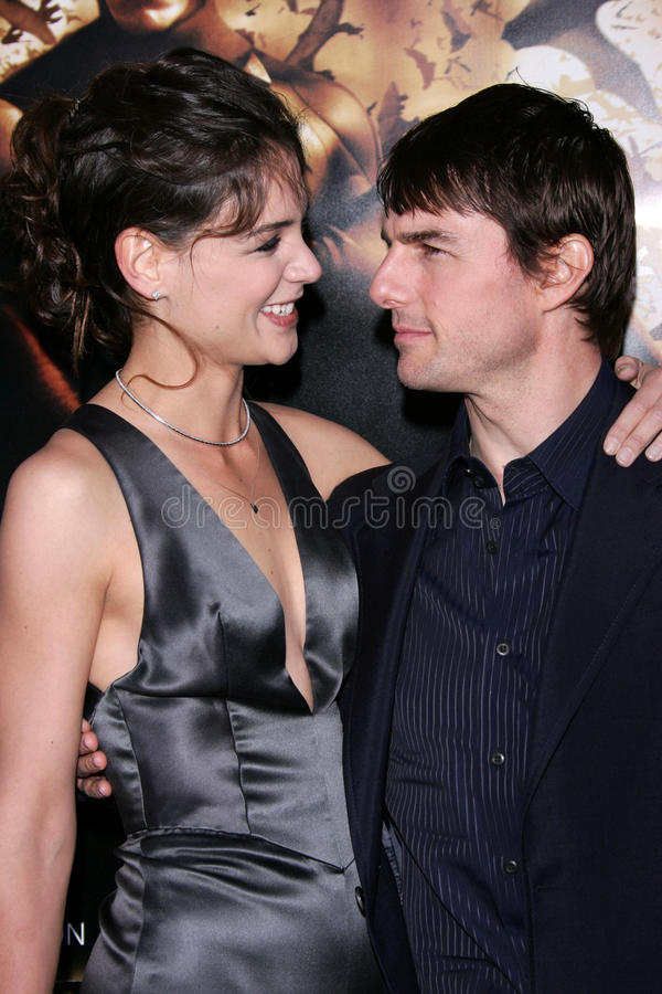 Tom Cruise, Katie Holmes. Katie Holmes and Tom Cruise at the world premiere of Warner Bros. Batman Begins, Chinese Theater, Hollywood, CA 06-06-05 stock photo