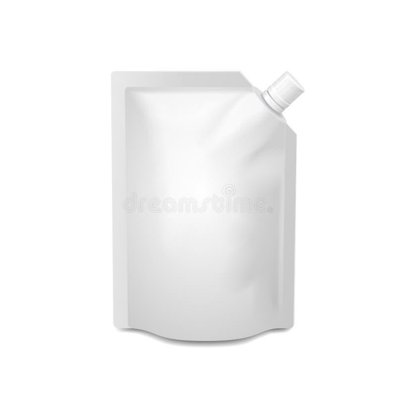 Tom doy-packe för vit, doypackfoliemat eller drink stock illustrationer