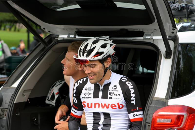 Tom dumoulin resting at Montreal Grand Prix Cycliste on September 9 2017 royalty free stock photo