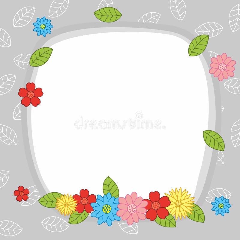 Tom färgrik gullig bakgrund för blommaramdesign royaltyfri illustrationer
