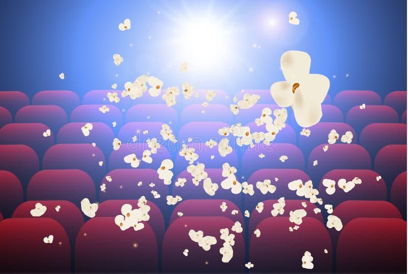 Tom filmbiograf med projektionsljus som faller in i linsen och de tomma platserna, popcornexplosion ocks? vektor f?r coreldrawill stock illustrationer