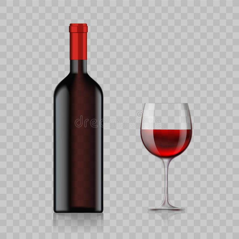Tom flaska med alkoholdryck- och vinexponeringsglas som isoleras på en t stock illustrationer