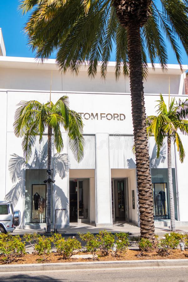 Tom Ford lager på Rodeo Drive i Beverly Hills - KALIFORNIEN, USA - MARS 18, 2019 royaltyfri bild