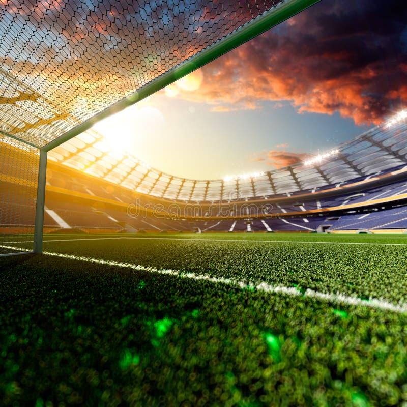 Tom fotbollstadion i solljus arkivbild