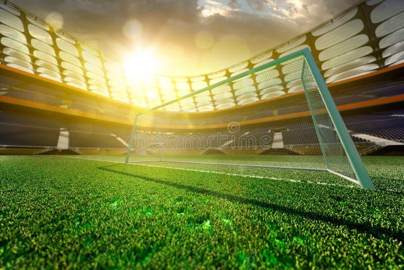 Tom fotbollstadion i solljus arkivfoton