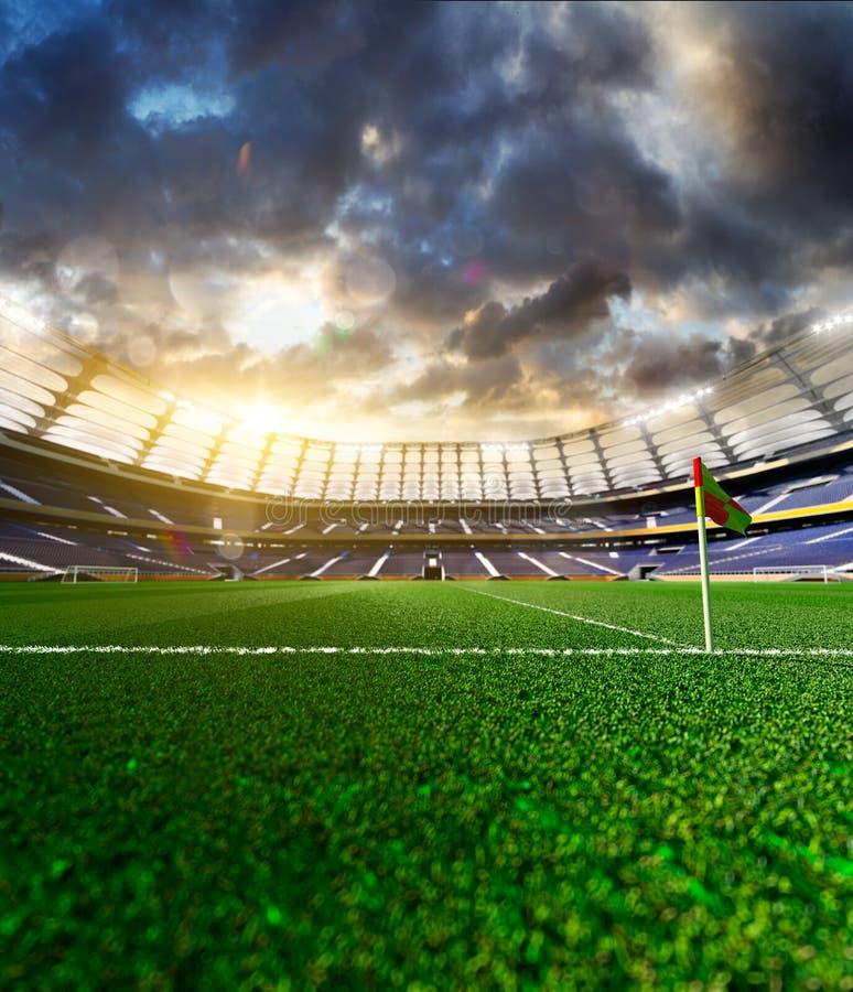 Tom fotbollstadion i solljus arkivbilder