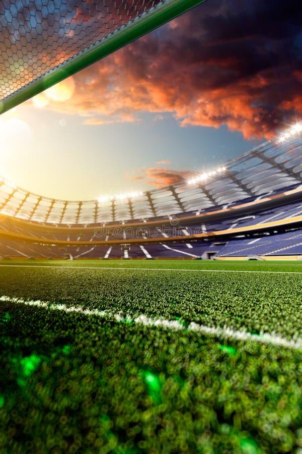 Tom fotbollstadion i solljus royaltyfri foto
