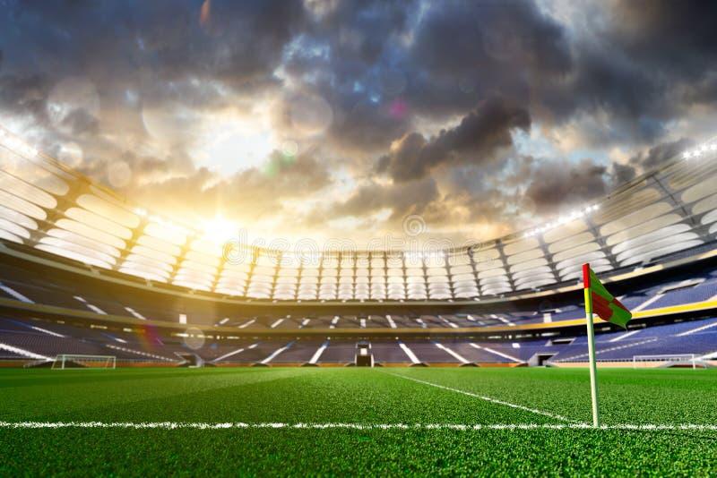 Tom fotbollstadion i solljus royaltyfri bild