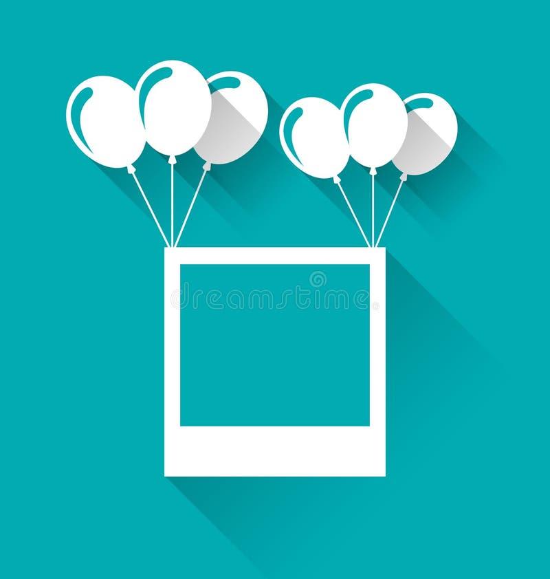 Tom fotoram med ballonger för din ferie vektor illustrationer