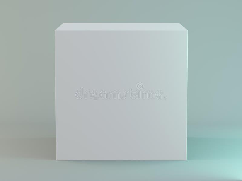 Tom fyrkantig ask på vit bakgrund med reflexion 3d royaltyfri illustrationer