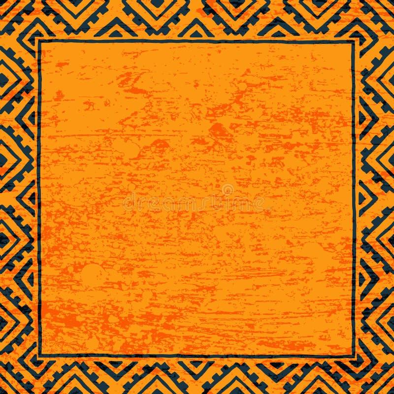 Tom fyrkantig ram för din text Svart och orange färg grunge stock illustrationer
