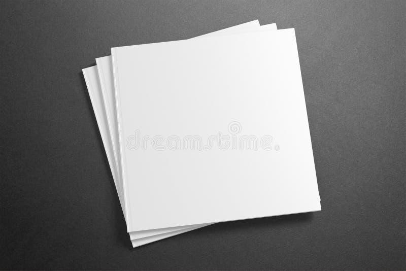 Tom fyrkantig tidskrift/broschyr på grungebakgrunden vektor illustrationer