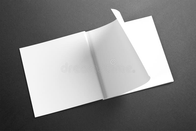 Tom fyrkantig tidskrift/broschyr på grungebakgrunden stock illustrationer
