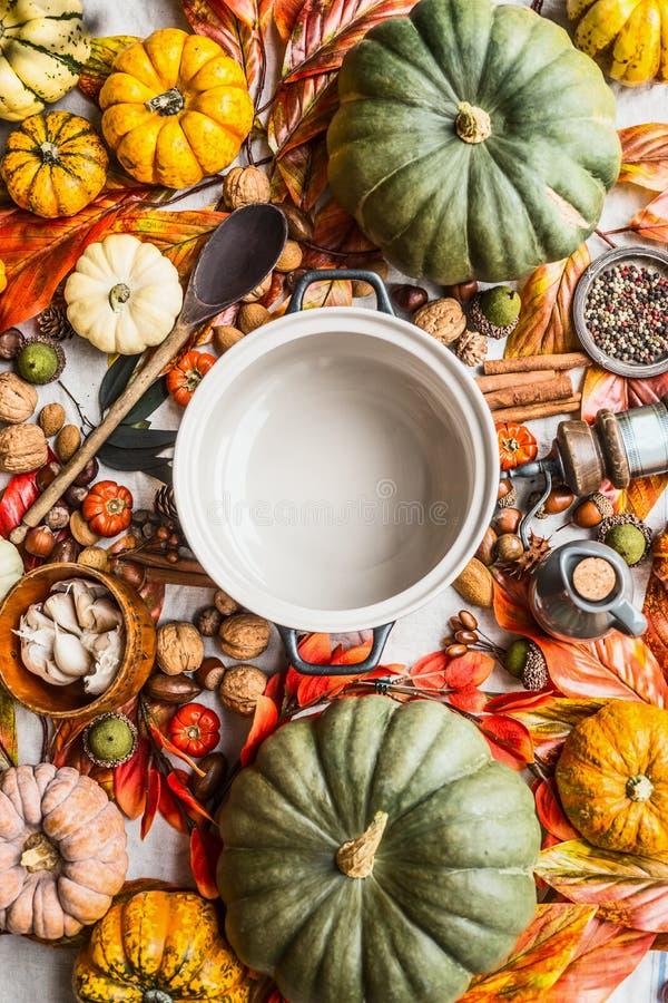 Tom göra till kok panna med träskeden på tabellen med många olika färgrika pumpor och andra höstingredienser: muttrar och kryddor arkivfoton