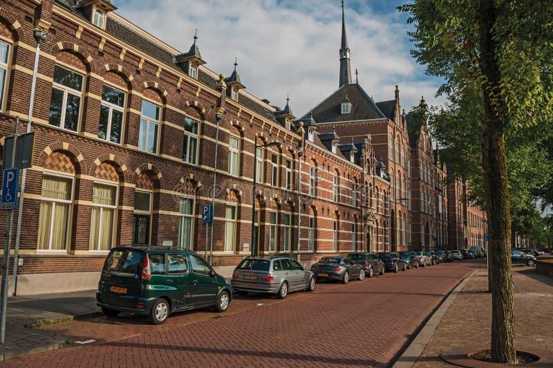 Tom gata med sammanbyggd på en sida tegelstenhus, skugga av träd på solnedgången och blå himmel i s-Hertogenbosch royaltyfri foto