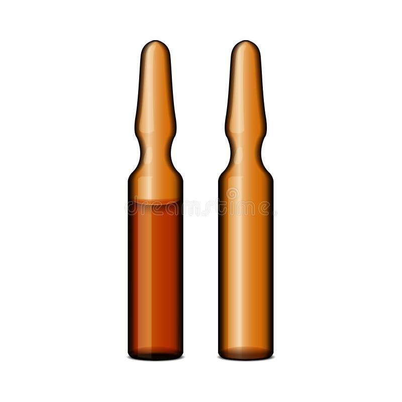 Tom genomskinlig ampule för mörkt exponeringsglas med vaccinen eller drogen för medicinsk behandling Tom realistisk modellmall av royaltyfri illustrationer